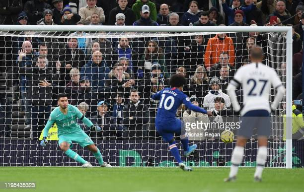 Willian of Chelsea scores his sides second goal during the Premier League match between Tottenham Hotspur and Chelsea FC at Tottenham Hotspur Stadium...
