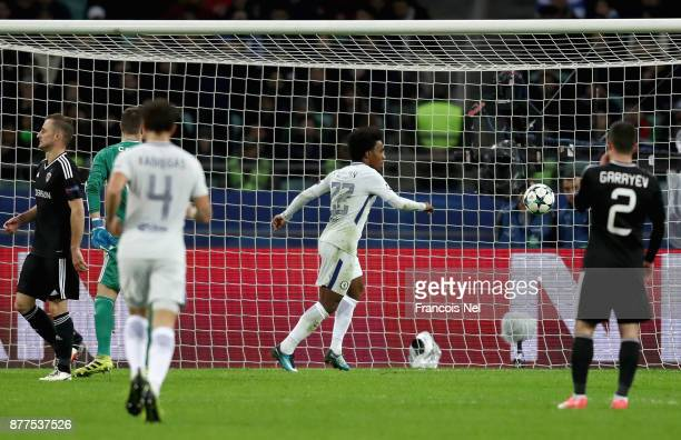 Willian of Chelsea scores his sides second goal during the UEFA Champions League group C match between Qarabag FK and Chelsea FC at Baki Olimpiya...