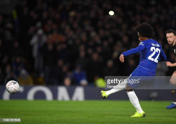Willian of Chelsea scores his team's first goal from the penalty spot during the FA Cup Fourth Round match between Chelsea and Sheffield Wednesday at...