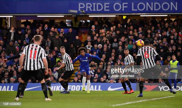 Willian of Chelsea scores his team's second goal during the Premier League match between Chelsea FC and Newcastle United at Stamford Bridge on...