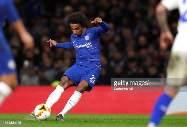 Willian of Chelsea scores his team's second goal during the UEFA Europa League Round of 16 First Leg match between Chelsea and Dynamo Kyiv at...