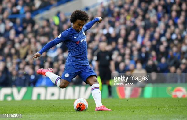 Willian of Chelsea scores his team's third goal during the Premier League match between Chelsea FC and Everton FC at Stamford Bridge on March 08,...