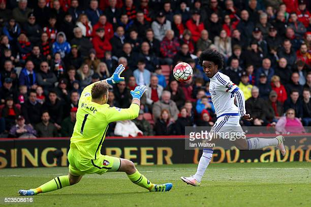 Willian of Chelsea scores past Artur Boruc of Bournemouth to make it 31 during the Barclays Premier League match between AFC Bournemouth and Chelsea...