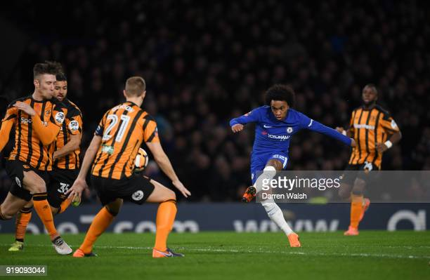 Willian of Chelsea scores the first goal during the Emirates FA Cup Fifth Round match between Chelsea and Hull City at Stamford Bridge on February 16...
