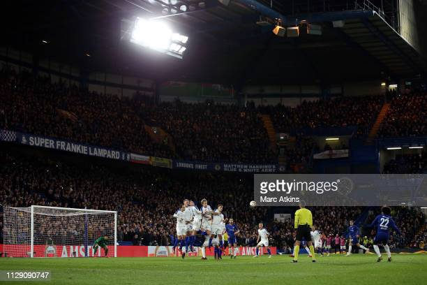 Willian of Chelsea scores their 2nd goal during the UEFA Europa League Round of 16 First Leg match between Chelsea and Dynamo Kyiv at Stamford Bridge...