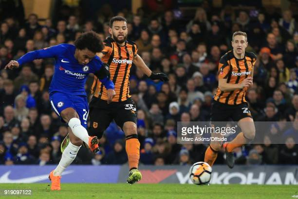 Willian of Chelsea scores their 3rd goal during the FA Cup 5th Round match between Chelsea and Hull City at Stamford Bridge on February 16 2018 in...