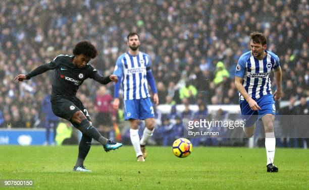 Willian of Chelsea scores their second goal during the Premier League match between Brighton and Hove Albion and Chelsea at Amex Stadium on January...