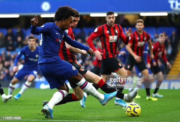 Willian of Chelsea shoots at goal during the Premier League match between Chelsea FC and AFC Bournemouth at Stamford Bridge on December 14 2019 in...