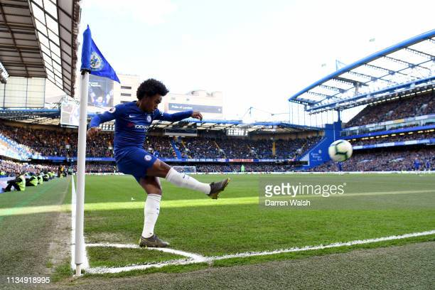 Willian of Chelsea takes a corner during the Premier League match between Chelsea FC and Wolverhampton Wanderers at Stamford Bridge on March 10 2019...