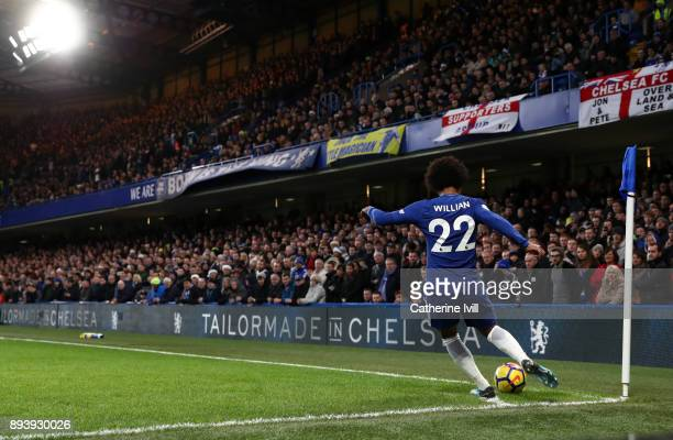 Willian of Chelsea takes a corner kick during the Premier League match between Chelsea and Southampton at Stamford Bridge on December 16 2017 in...