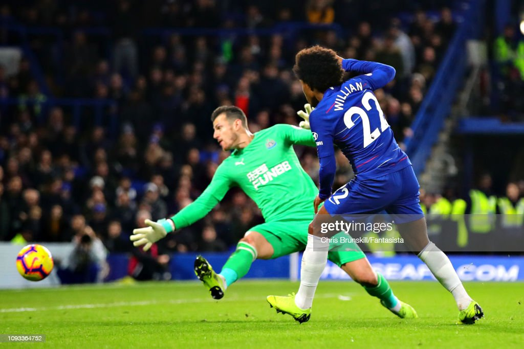 Willian Of Chelsea Takes A Shot During The Premier League