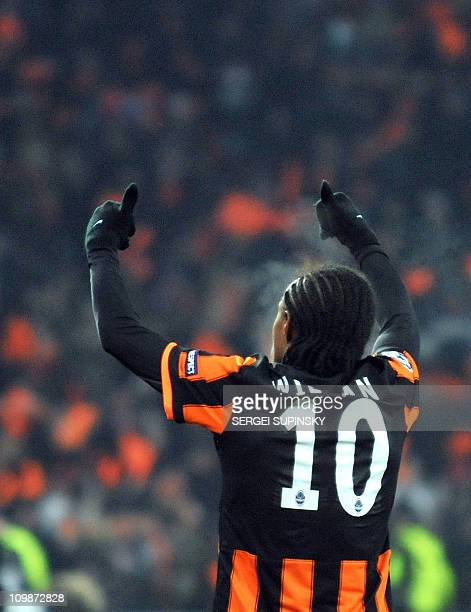 Willian of FC Shakhtar reacts after scoring against AS Roma during of UEFA Champions League football match in Donetsk on March 8 2011 Shakhtar won 30...