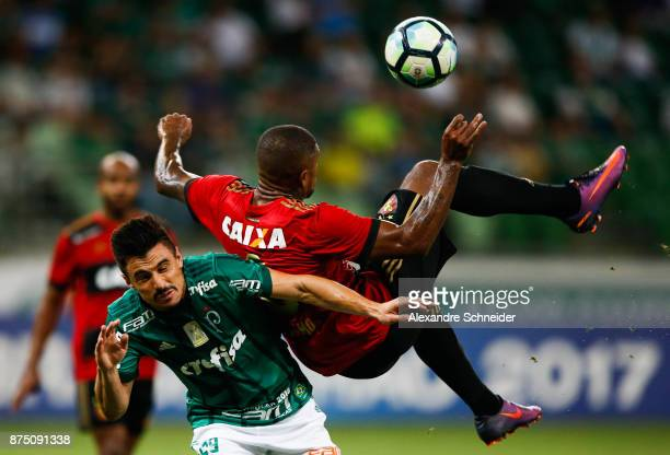 Willian of Palmeiras and Anselmo of Sport Recife in action during the match for the Brasileirao Series A 2017 at Allianz Parque Stadium on November...