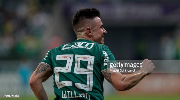 Willian of Palmeiras celebrates his goal during a match between Palmeiras and Flamengo for the Brasileirao Series A 2018 at Allianz Parque Stadium on...