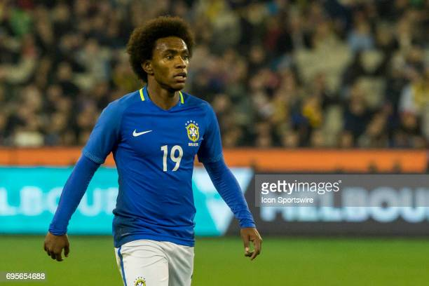 Willian Silva of the Brazilian National Football Team looks for options during the International Friendly Match Between Brazilian National Football...