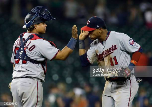 Willians Astudillo of the Minnesota Twins celebrates with Jorge Polanco of the Minnesota Twins after a 61 win over the Detroit Tigers at Comerica...