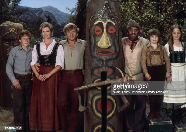 Willie Aames Pat Delany Martin Milner Cameron Mitchell Eric Olson Helen Hunt promotional photo for the ABC tv series 'Swiss Family Robinson'