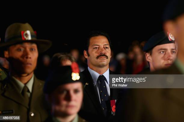 Willie Apiata takes part in ANZAC Day commemorations at the War Memorial Museum on April 25 2014 in Auckland New Zealand Veterans dignitaries and...