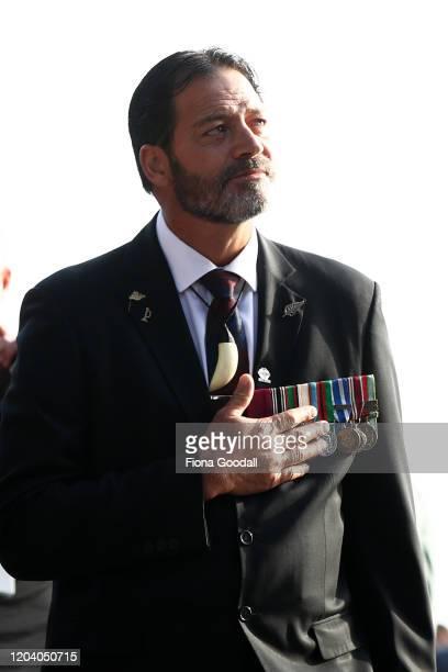 Willie Apiata VC arrives at the opening of Te Rau Aroha on February 05 2020 in Waitangi New Zealand The $146 million Maori Battalion Museum aims to...