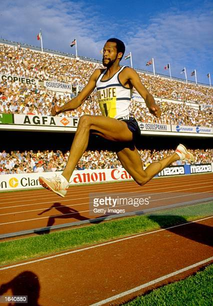 Willie Banks of the USA in action during the Triple Jump event of the Helsinki Grand Prix at the Olympic Stadium in Finland. \ Mandatory Credit:...