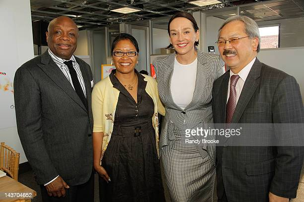 Willie Brown San Francisco Supervisor Hydra Mendoza California Attorney General Dr Elisa Stephens and Ed Lee at The Cannery on May 2 2012 in San...