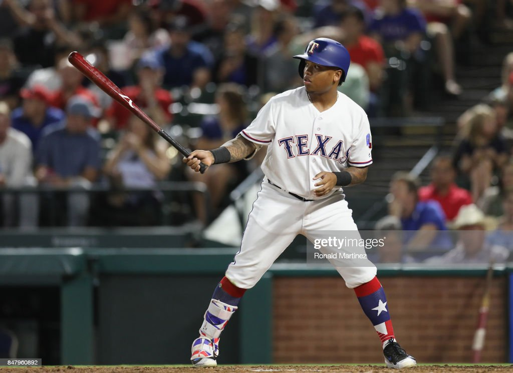 Willie Calhoun #55 of the Texas Rangers at Globe Life Park in Arlington on September 12, 2017 in Arlington, Texas.