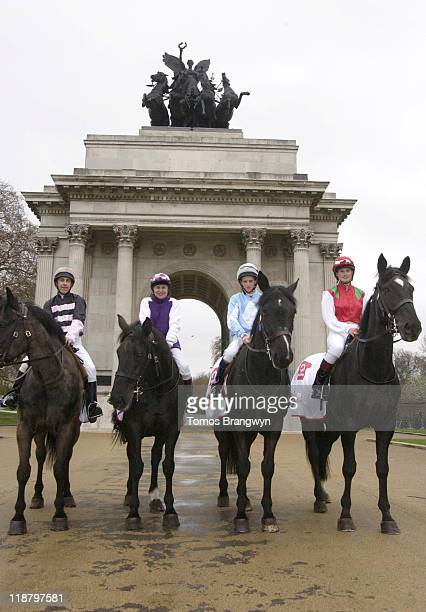 Willie Carson and Francesca Cumani during Vodafone Derby Festival 2006 Photocall at Wellington Arch in London Great Britain