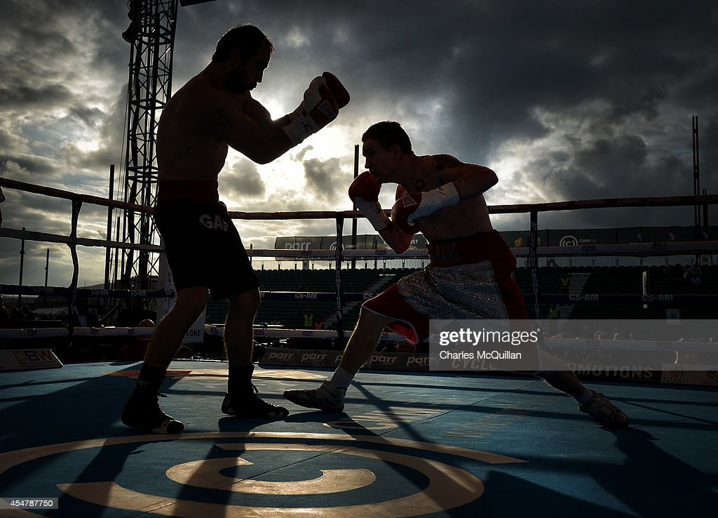 Willie Casey of Ireland v George Gachechiladze of Georgia during their bout on the Frampton Martinez undercard at the purpose-built 16,000 capacity Titanic slipway outdoor arena on September 6, 2014 in Belfast, Northern Ireland. (Photo by Charles McQuillan/Getty Images).
