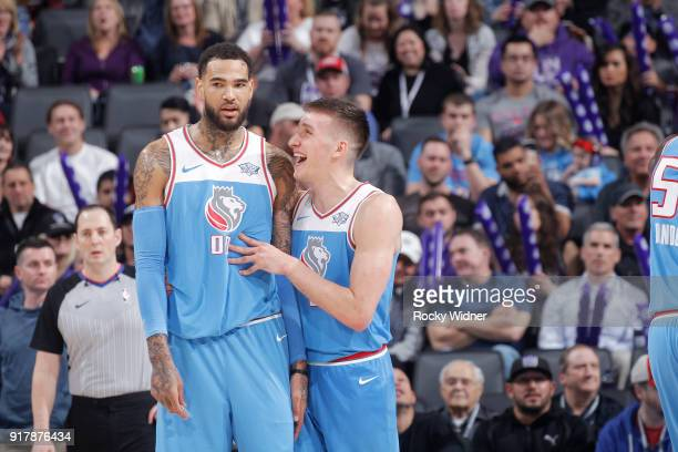 Willie CauleyStein and Bogdan Bogdanovic of the Sacramento Kings talk during the game against the Chicago Bulls on February 5 2018 at Golden 1 Center...