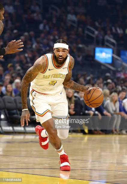 Willie CauleyStein of the Golden State Warriors dribbles the ball against the San Antonio Spurs at Chase Center on November 01 2019 in San Francisco...