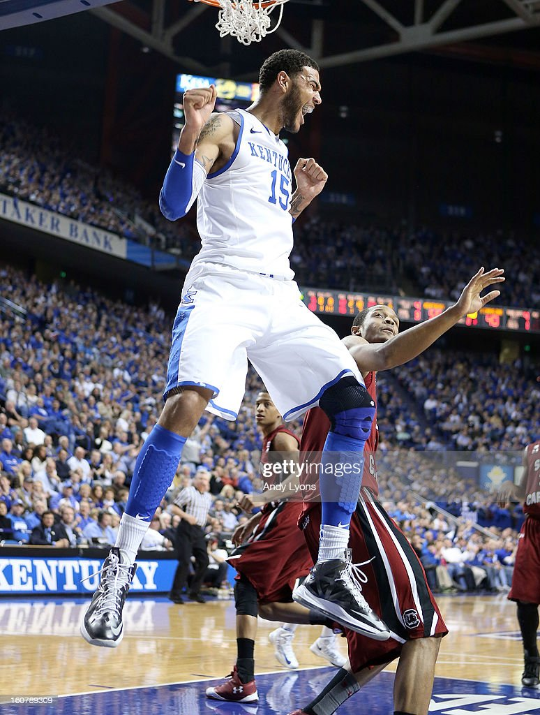 Willie Cauley-Stein #15 of the Kentucky Wildcats celebrates after dunking the ball during the game against the South Carolina Gamecocks at Rupp Arena on February 5, 2013 in Lexington, Kentucky.