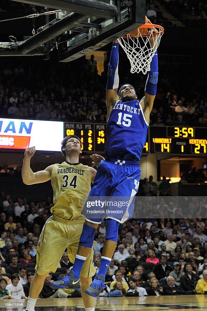Willie Cauley-Stein #15 of the Kentucky Wildcats dunks against Shelby Moats #34 of the Vanderbilt Commodores at Memorial Gym on January 10, 2013 in Nashville, Tennessee.