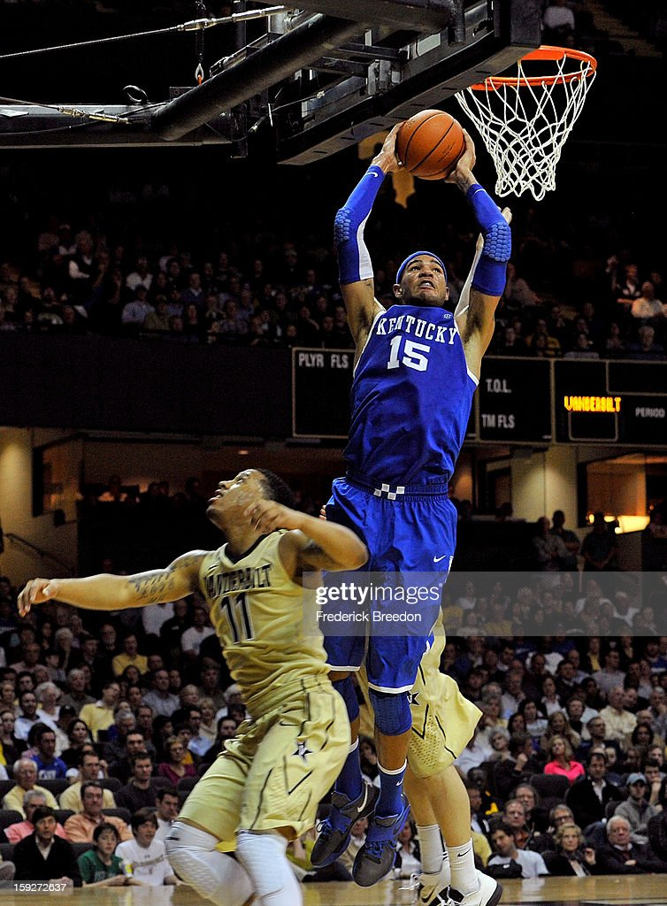 Willie Cauley-Stein #15 of the Kentucky Wildcats dunks over Kyle Fuller #11 of the Vanderbilt Commodores at Memorial Gym on January 10, 2013 in Nashville, Tennessee.