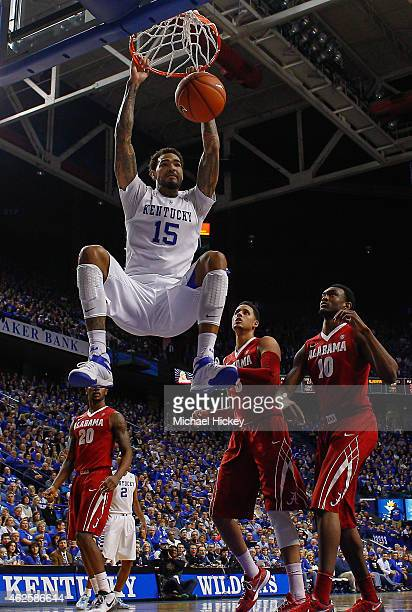 Willie CauleyStein of the Kentucky Wildcats dunks the ball against the Alabama Crimson Tide at Rupp Arena on January 31 2015 in Lexington Kentucky...