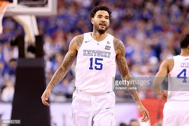 Willie CauleyStein of the Kentucky Wildcats reacts after a dunk in the first half against the Wisconsin Badgers during the NCAA Men's Final Four...