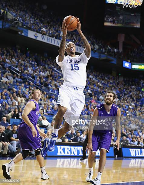 Willie CauleyStein of the Kentucky Wildcats shoots the ball during the game against the Grand Canyon Antelopes at Rupp Arena on November 14 2014 in...