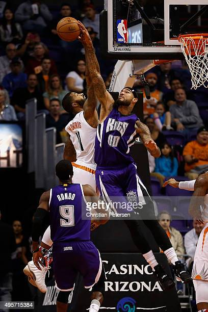 Willie CauleyStein of the Sacramento Kings blocks a shot attempt from Markieff Morris of the Phoenix Suns during the NBA game at Talking Stick Resort...