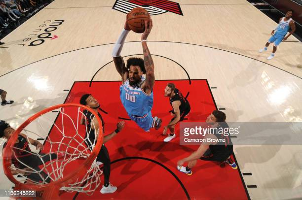 Willie CauleyStein of the Sacramento Kings dunks against the Portland Trail Blazers on April 10 2019 at the Moda Center Arena in Portland Oregon NOTE...