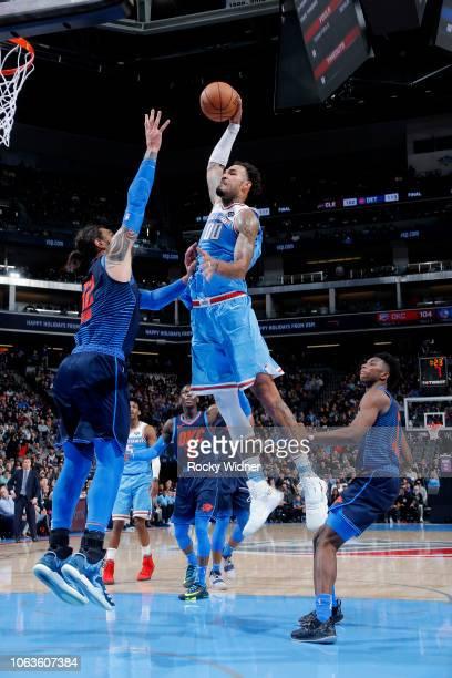 Willie CauleyStein of the Sacramento Kings dunks the ball against the Oklahoma City Thunder on November 19 2018 at Golden 1 Center in Sacramento...