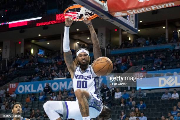 Willie CauleyStein of the Sacramento Kings dunks two points against the Oklahoma City Thunder during the second half of a NBA game at the Chesapeake...