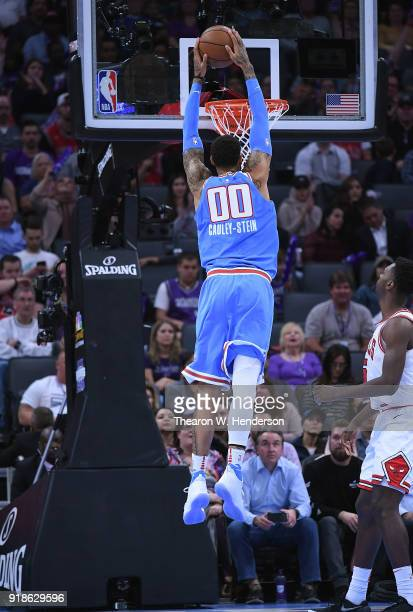 Willie CauleyStein of the Sacramento Kings goes up for a slam dunk against the Chicago Bulls during an NBA basketball game at Golden 1 Center on...