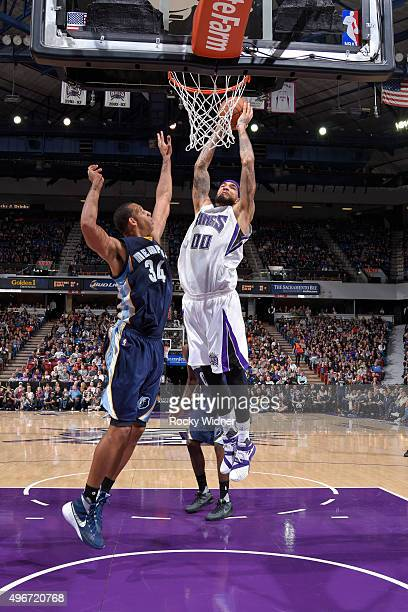 Willie CauleyStein of the Sacramento Kings goes up for the dunk against Brandan Wright of the Memphis Grizzlies on November 3 2015 at Sleep Train...
