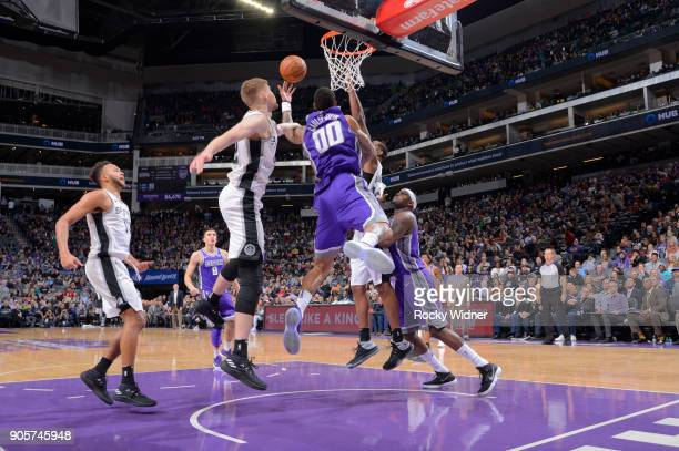Willie CauleyStein of the Sacramento Kings goes up for the shot against the San Antonio Spurs on January 8 2018 at Golden 1 Center in Sacramento...