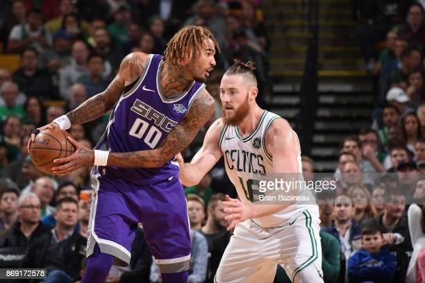 Willie CauleyStein of the Sacramento Kings handles the ball against Aron Baynes of the Boston Celtics on November 1 2017 at the TD Garden in Boston...
