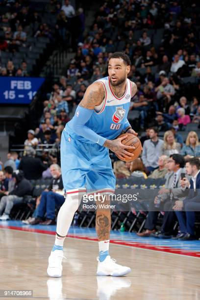 Willie CauleyStein of the Sacramento Kings handles the ball against the Chicago Bulls on February 5 2018 at Golden 1 Center in Sacramento California...