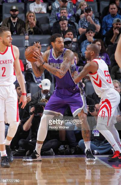 Willie CauleyStein of the Sacramento Kings handles the ball against Aaron Jackson of the Houston Rockets on April 11 2018 at Golden 1 Center in...