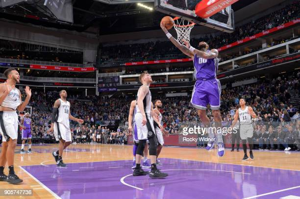 Willie CauleyStein of the Sacramento Kings shoots a layup against the San Antonio Spurs on January 8 2018 at Golden 1 Center in Sacramento California...