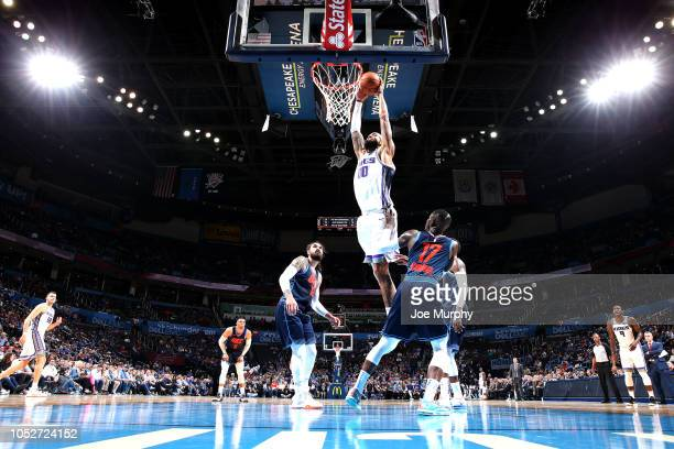 Willie CauleyStein of the Sacramento Kings shoots the ball against the Oklahoma City Thunder on October 21 2018 at Chesapeake Energy Arena in...