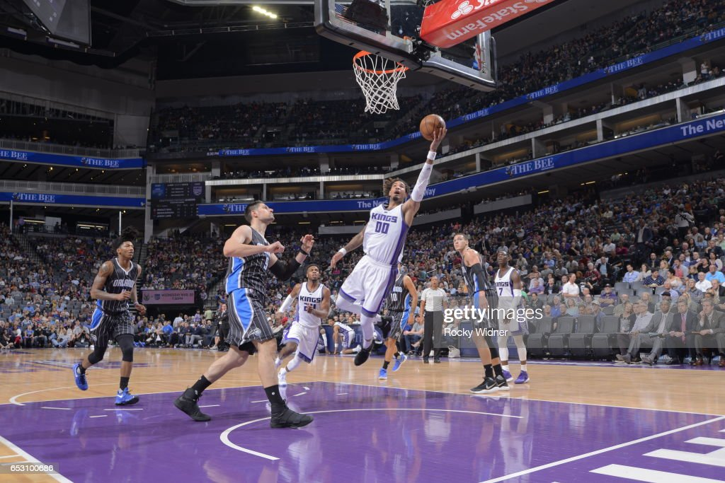 Willie Cauley-Stein #00 of the Sacramento Kings shoots the ball against the Orlando Magics on March 13, 2017 at Golden 1 Center in Sacramento, California.