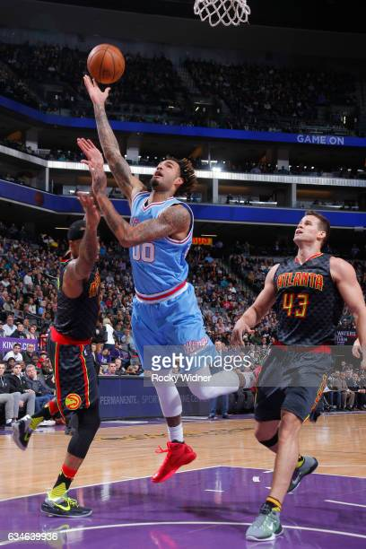 Willie CauleyStein of the Sacramento Kings shoots the ball during a game against the Atlanta Hawks on February 10 2017 at Golden 1 Center in...